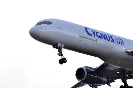 TENERIFE, SPAIN - JULY 09, 2017: Plane - Boeing 757-236 (SF) from Cygnus Air landing in Tenerife North Airport on July 09, 2017