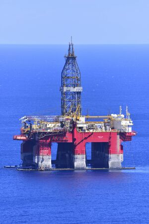 TENERIFE, SPAIN-JULY 31, 2017: Oil rig anchored near the coast, July 31, 2017 Editorial