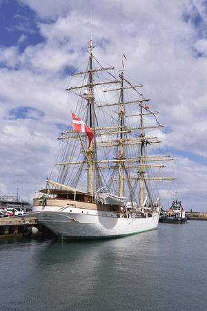TENERIFE, SPAIN-APRIL 22, 2018: Frigate Danmark, docked in the port of Santa Cruz de Tenerife. April 22, 2018. Editorial