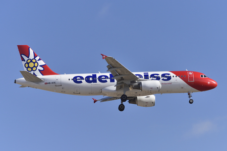 TENERIFE, SPAIN-MAY 14, 2018: Airbus A320-214 of Edelweiss Air, about to land at Tenerife South Airport on MAY 14, 2018 Editorial