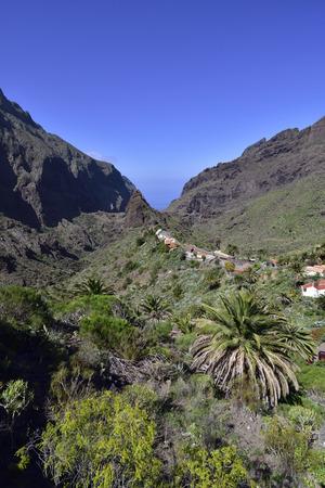 Small village Masca in Tenerife. The village lies at an altitude of 750 m in the Macizo de Teno mountains.