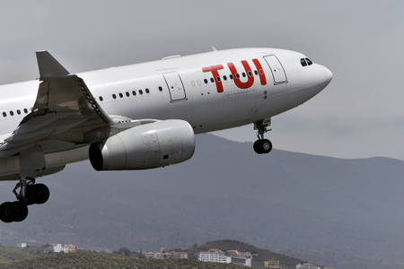 TENERIFE, SPAIN - MAY 12, 2018: Plane - Airbus A330-243, TUI (Air Tanker), taking off in Tenerife South Airport on May 12, 2018
