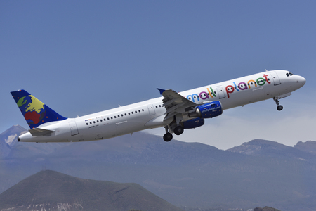 TENERIFE, SPAIN - MAY 12, 2018: Plane - Airbus A321-211, Small Planet Airlines, taking off in Tenerife South Airport on May 12, 2018