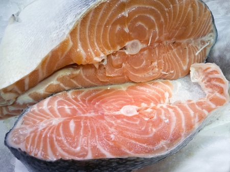 Close-up of a slice of fresh salmon in the fish market Stock Photo