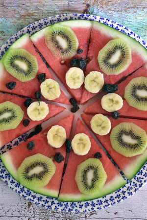 Pieces of natural fruit pizza