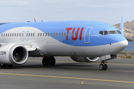 Las Palmas November 7, Boeing 737-8 MAX, TUI, by taxiway to start the takeoff. November 7, 2018, Las Palmas, (Canary Islands) Spain. Editorial