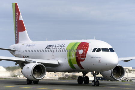 Las Palmas November 7, Airbus A319-111, Tap, Air Portugal, by taxiway to start the takeoff. November 7, 2018, Las Palmas, (Canary Islands) Spain.