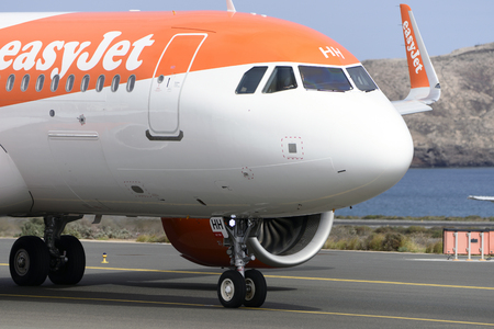 Las Palmas November 7, Airbus A320-251N, Easyjet, by taxiway to start the takeoff. November 7, 2018, Las Palmas, (Canary Islands) Spain. Editorial