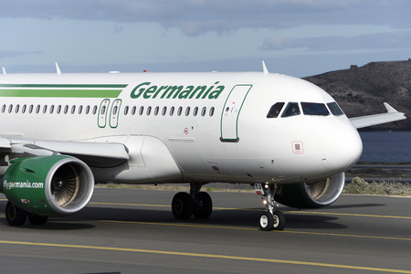 Las Palmas November 7, Airbus A319-111, Germania, by taxiway to start the takeoff. November 7, 2018, Las Palmas, (Canary Islands) Spain. Editorial