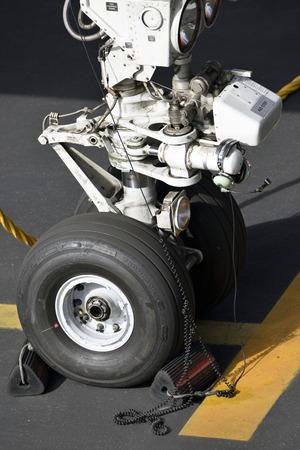 TENERIFE, SPAIN - DEC 04, 2018: Close-up of the front landing gear of a Boeing 757-330, Dec 04,2018