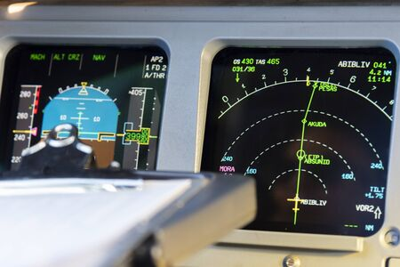 View from the cockpit during the flight of a passenger aircraft.