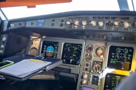 Cockpit of a passenger plane. Stock Photo