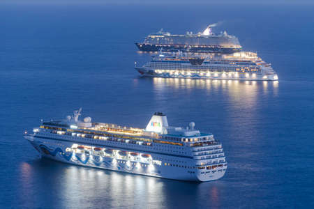 TENERIFE, SPAIN- JAN 30, 2021: Cruises in the anchorage area waiting for the COVID-19 pandemis to end. Jan 30, 2021. Editorial