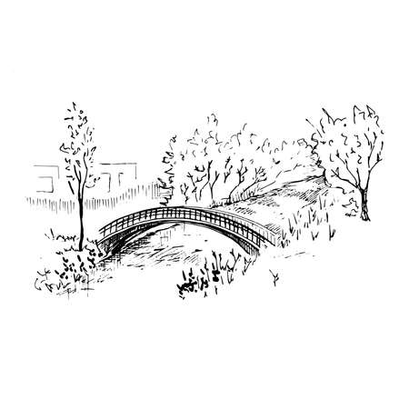 Landscape with a bridge. Hand-drawn sketch style vector illustration. Isolated on white