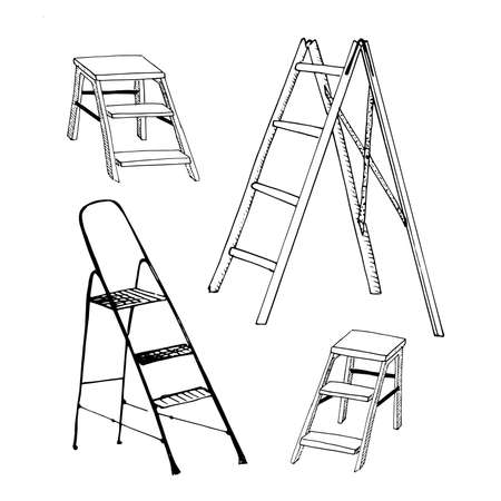 Step ladders sketch set. Collection of hand drawn ladders isolated on white. Sketch style vector illustration.  イラスト・ベクター素材