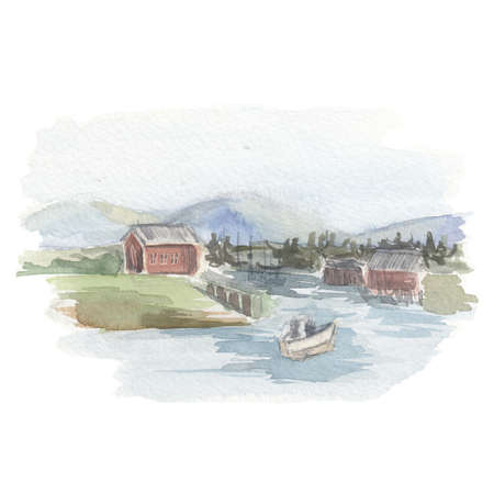 Watercolor landscape. Light watercolor sketch of the landscape, house, lake, mountains, forest on a white