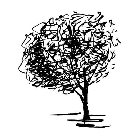 Tree. Single, hand drawn black tree, isolated on white background. Sketch style vector illustration