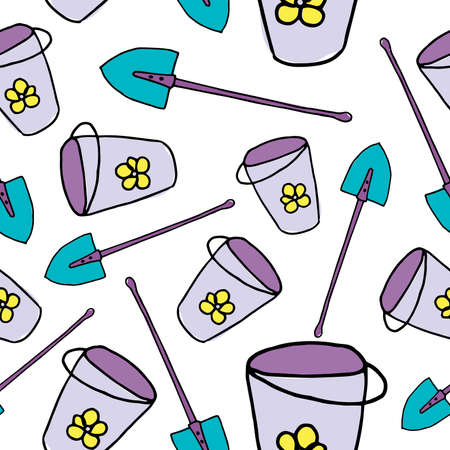 Bucket and spade. Colored doodle buckets and shovels on white background. Summer wallpaper, bright cartoon illustration. Gardening backdrop. Seamless pattern.