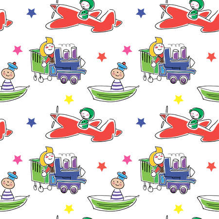 Toys pattern. Seamless background drawn by hands doodle toys. Cute children vector pattern on a transparent background. Иллюстрация