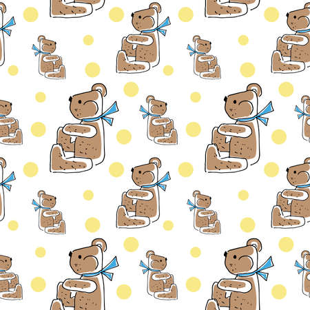 Teddy bear pattern. Seamless background drawn by hands doodle toy bear. Vector pattern on a transparent background.