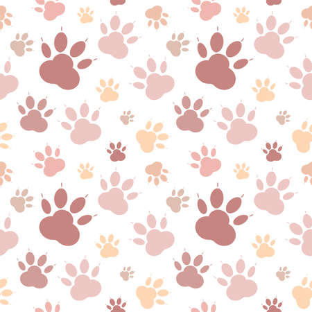 Paws pattern. Silhouettes of paws, cat s feet, dog s footprint. Pastel pink, nude on a transparent background. Seamless vector backdrop.
