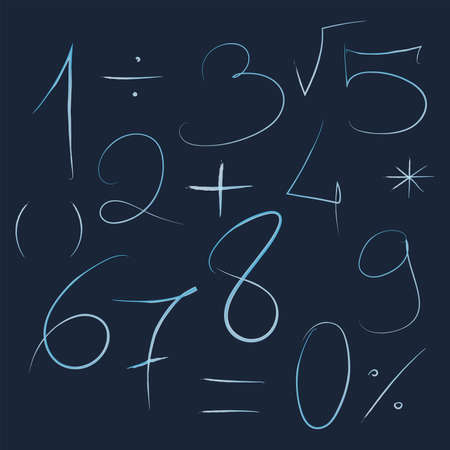 Set of numbers and mathematical symbols, hand drawn by a thin line numbers and mathematical signs light blue on dark blue background. Vectores