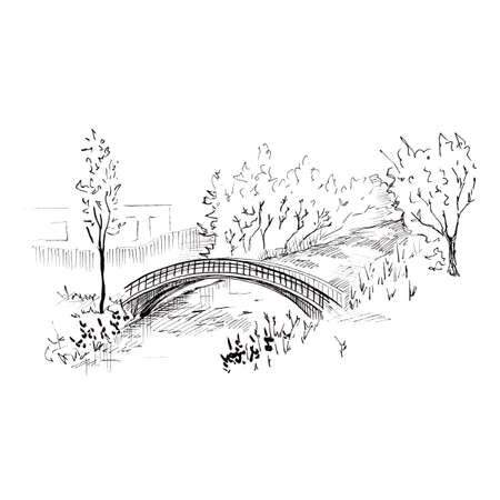 Landscape with a bridge. Hand-drawn sketch style illustration. Isolated on white background.