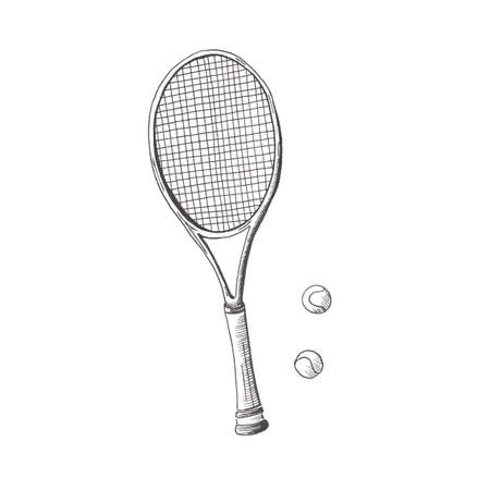 Tennis racquet. Hand drawn sketch style tennis racquet with tennis balls. Isolated on white background.