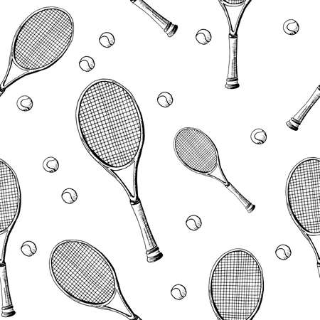 Tennis background. Seamless pattern of hand-drawn black sketch style tennis racquet with tennis balls on white background. 写真素材