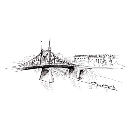 Sketch landscape. Cityscape with bridge and river. Hand drawn illustration. Isolated on white 스톡 콘텐츠