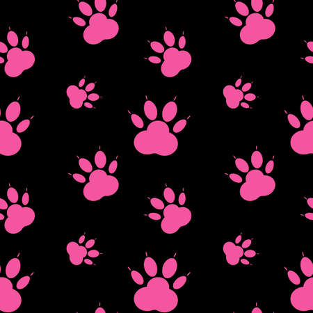 Paw pattern, seamless vector pattern silhouettes of paw, cat s feet, dog s footprint. Pink on black background.