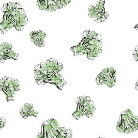 Broccoli pattern. Hand drawn green vegetables broccoli on the white background. Seamless backdrop Stok Fotoğraf