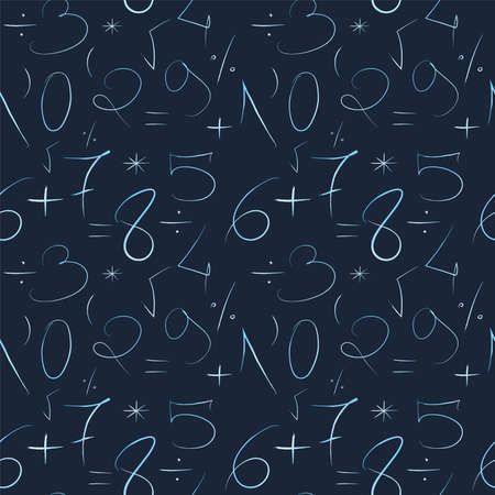 Mathematical blue background. Hand drawn by a thin line numbers and mathematical signs and symbols. Seamless vector pattern Stockfoto