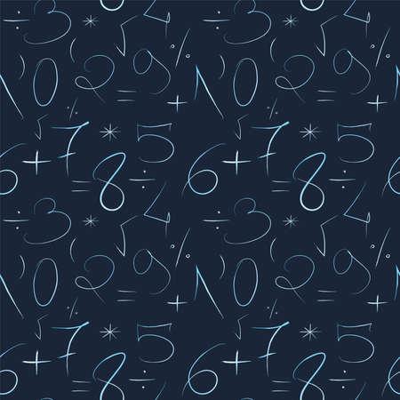 Mathematischer blauer Hintergrund. Handgezeichnet durch eine dünne Linie Zahlen und mathematische Zeichen und Symbole. Nahtloses Vektormuster Standard-Bild
