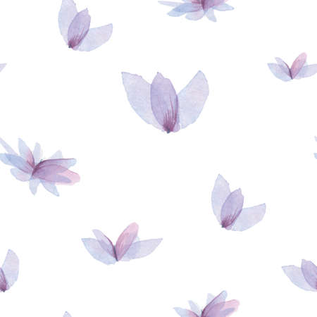 Gentle spring background, violet flowers pattern. Watercolor violet flowers, hand-drawn, isolated on white background. Seamless backdrop Stock Photo
