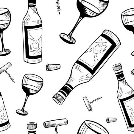 Wine sketch pattern. Hand drawn black wine bottles, glasses and corkscrews on white. Seamless vector background