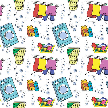 Laundry pattern. Colored doodle elements for washing clothes, washing machines, clothes dry, laundry baskets and detergents on transparent backdrop. Seamless vector background. Standard-Bild - 129912242