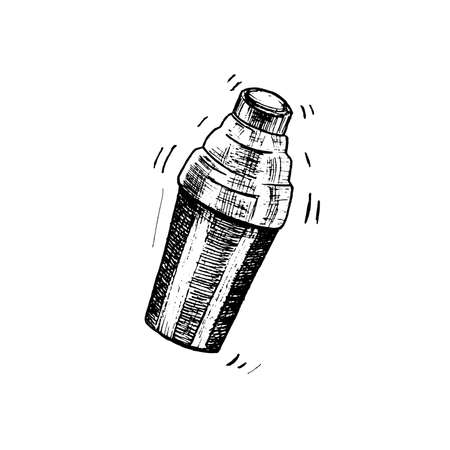 Cocktail shaker sketch. Hand drawn shaker, isolated on white background. Vector illustration.