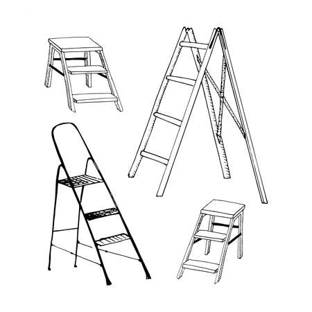 Step ladders sketch set. Collection of hand drawn ladders isolated on white. Sketch style  illustration. 写真素材