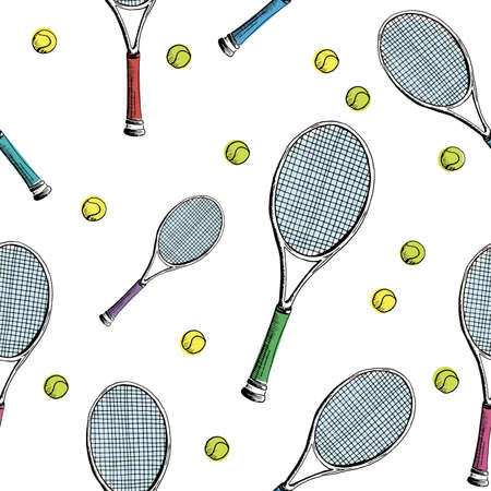 Tennis background. Seamless pattern of hand-drawn colored sketch style tennis racquet with yellow tennis balls on white background.  backdrop. 写真素材