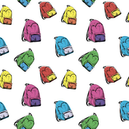Backpack pattern. Hand drawn colored backpacks, multicolor seamless background.