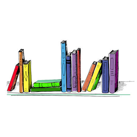 Books. Sketch style colored illustration different books are on the shelf. Hand drawn multicolor books isolated on white