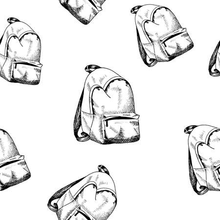 Backpack pattern. Hand drawn rucksack, sketch style seamless background