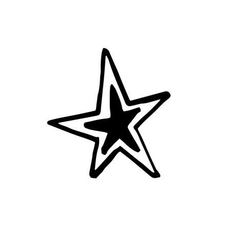 Hand drawn one star. Simple doodle style icon. Single, careless painted vector star. Black isolated on a white background.