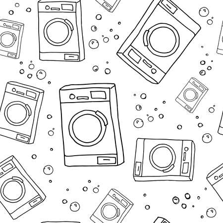 Laundry pattern. Hand drawn washing machines on white backdrop. Seamless vector background.