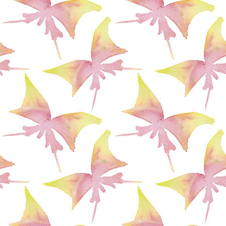 Butterfly watercolor pattern. Hand drawn yellow and red butterflys, seamless watercolor background.