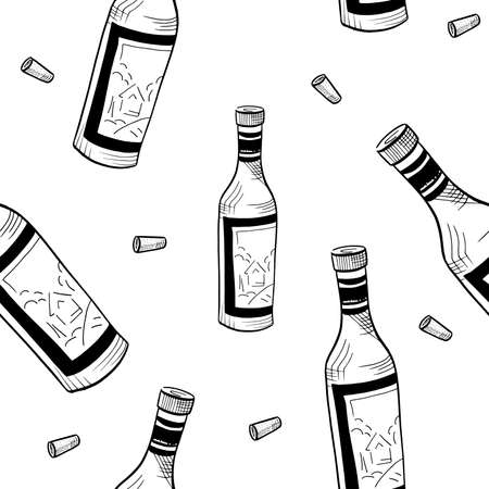 Wine pattern. Hand drawn sketch doodle black wine bottles and corks on white background. Seamless vector background