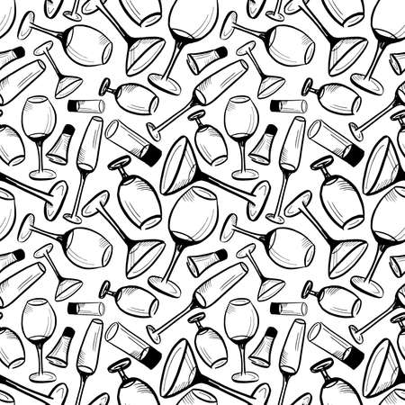 Wine glasses pattern. Hand drawn sketch doodle black glasses for drinks on white background. Seamless vector background
