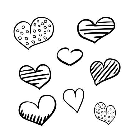 Hearts doodle set. Collection of hand drawn careless hearts. Black isolated on a white background. Vector illustrations.