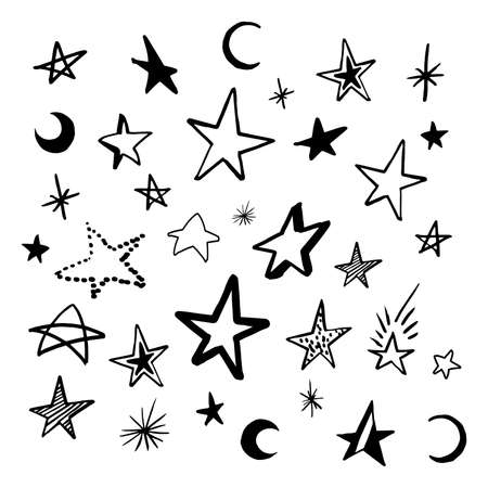 Set doodle stars. Collection of black hand drawn stars and crescent. Vector illustration, isolated on white. Stock Photo